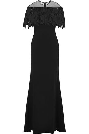 LELA ROSE Tulle and guipure lace-paneled wool-blend gown