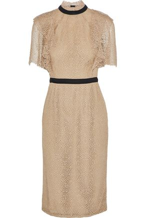 LELA ROSE Grosgrain-trimmed metallic lace dress