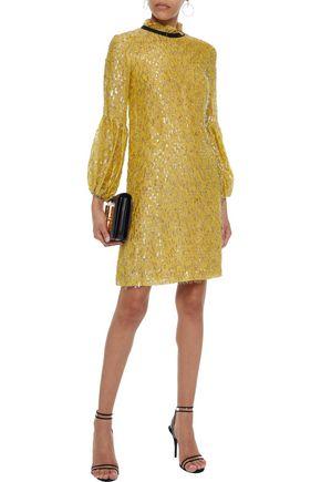 LELA ROSE Tinsel-embellished chiffon mini dress