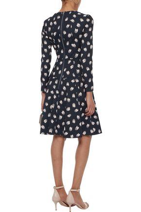 LELA ROSE Flared crinkled floral-jacquard cotton-blend dress