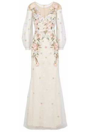MARCHESA NOTTE Embroidered tulle and lace gown