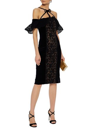 MARCHESA NOTTE Cold-shoulder lace-paneled velvet dress