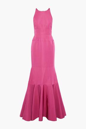 J.MENDEL Fluted metallic silk-blend cloqué gown