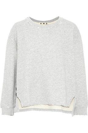 AMO Distressed French cotton-terry sweatshirt