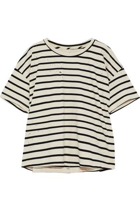 CURRENT/ELLIOTT The Roadie distressed striped cotton-blend top