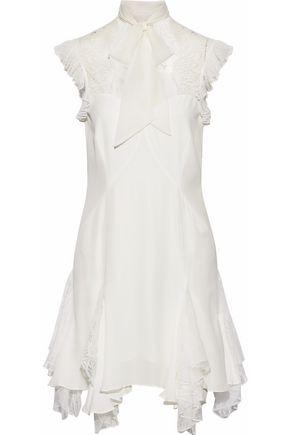 Clotilde Pussy Bow Lace Paneled Silk Mini Dress by Cinq À Sept