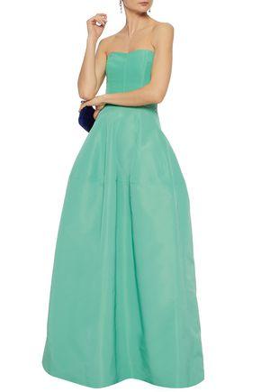 J.MENDEL Strapless flared silk-faille gown