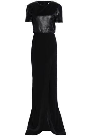 GALVAN  London Split-front coated-paneled crepe gown