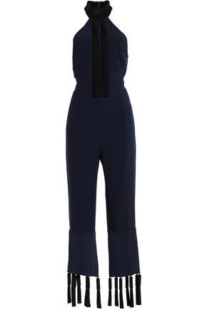 GALVAN  London Toro cropped tasseled crepe jumpsuit
