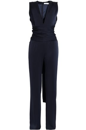 GALVAN  London Tie-back washed-satin wrap jumpsuit
