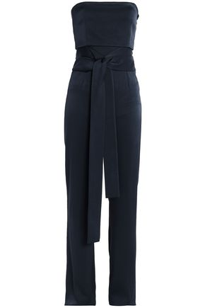 GALVAN  London Strapless tie-front washed-satin jumpsuit