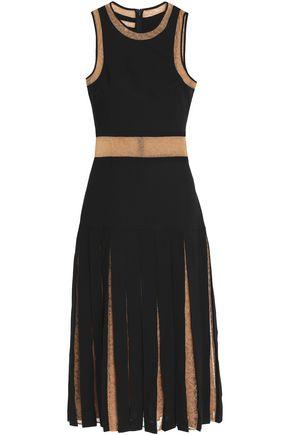 MICHAEL KORS COLLECTION Layered lace-paneled crepe dress