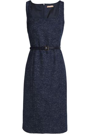 MICHAEL KORS COLLECTION Belted marled wool-blend dress
