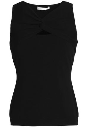 MILLY Cutout stretch-knit top