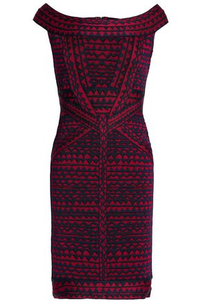 HERVÉ LÉGER Christy off-the-shoulder bandage-jacquard mini dress