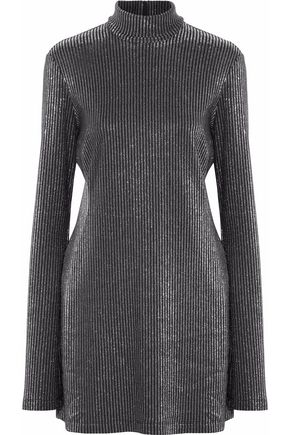 ELLERY Abigail metallic ribbed-knit turtleneck mini dress