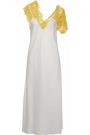 ELLERY Corded lace-trimmed satin-crepe midi dress
