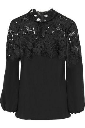 LELA ROSE Guipure lace-paneled crepe top