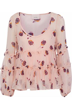 CINQ À SEPT Tumbling Jasmin ruffled floral-print silk-chiffon blouse