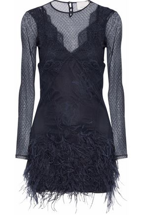 CINQ À SEPT Amabella feather-trimmed point d'esprit mini dress