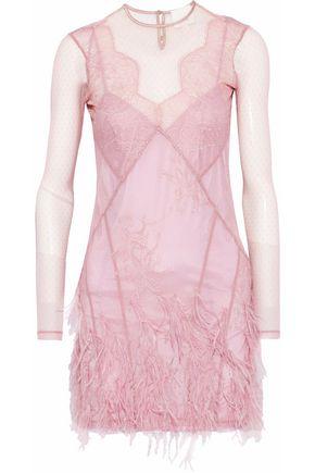 CINQ À SEPT Amabella feather-embellished point d'esprit mini dress