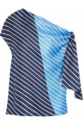 TIBI Delphina knotted striped silk satin-twill blouse