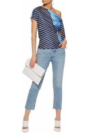 TIBI Delphina one-shoulder striped silk satin-twill top