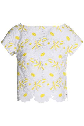 MILLY Broderie anglaise cotton top