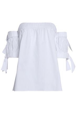 MILLY Off-the-shoulder knotted cotton-blend poplin top
