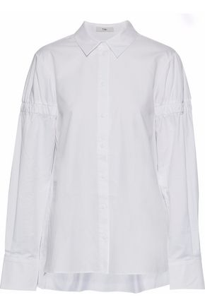 TIBI Satin-trimmed shirred cotton-poplin shirt