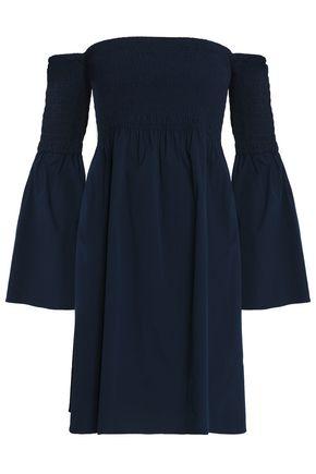 MILLY Off-the-shoulder shirred cotton-blend poplin dress