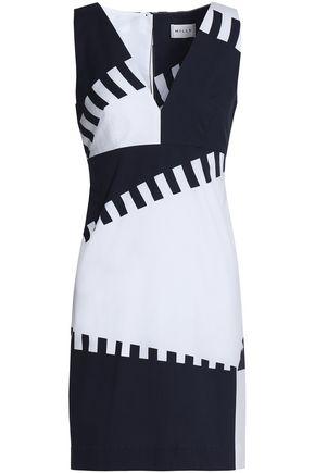 MILLY Two-tone cotton-blend poplin mini dress