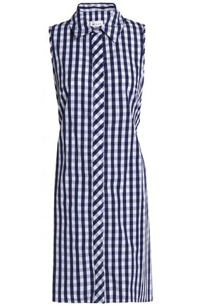 MILLY Tie-back cutout gingham cotton shirt dress
