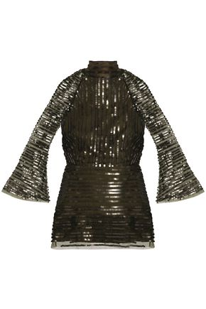 RACHEL GILBERT Tuulia cutout sequined tulle turtleneck top
