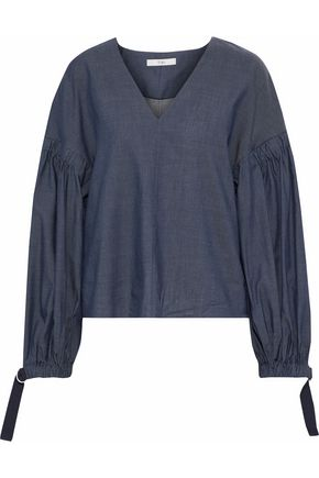 TIBI Shirred cotton-blend chambray blouse