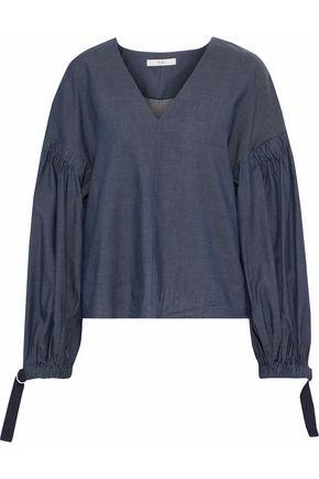 TIBI Cotton-blend chambray blouse