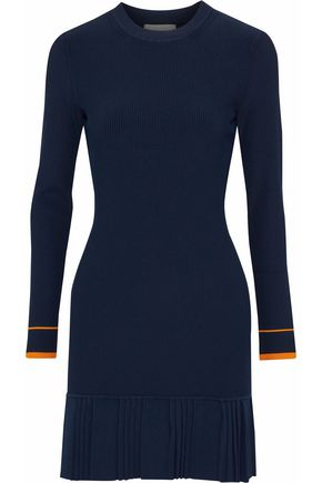 3.1 PHILLIP LIM Pleated ribbed-knit mini dress