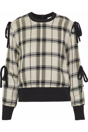 3.1 PHILLIP LIM Silk-trimmed checked twill top