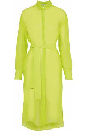 MSGM Belted neon silk-chiffon tunic