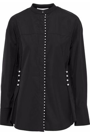 3.1 PHILLIP LIM Faux pearl-embellished cotton-poplin shirt