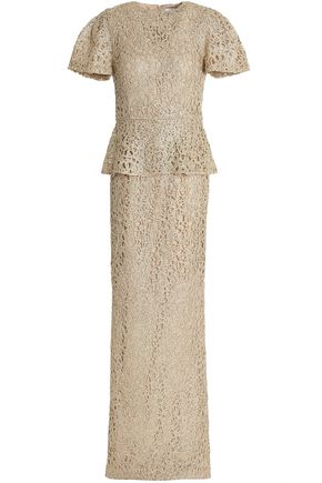 RACHEL GILBERT Iona beaded metallic lace peplum gown