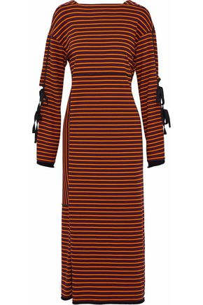 3.1 PHILLIP LIM Bow-detailed striped cotton midi dress