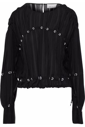 3.1 PHILLIP LIM Lace-up pintucked silk-chiffon blouse