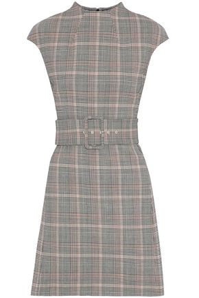 THEORY Belted Prince of Wales checked wool-blend mini dress