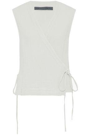 RAQUEL ALLEGRA Crinkled-cotton wrap top