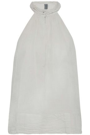 RAQUEL ALLEGRA Frayed cotton-gauze top