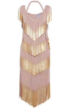 HERVÉ LÉGER Fringed metallic bandage dress