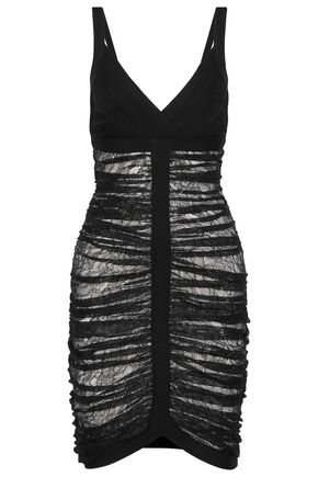 HERVÉ LÉGER Esther ruched lace and bandage dress
