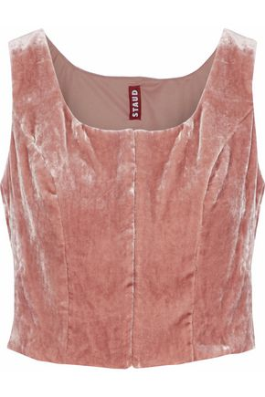 STAUD Marie cropped velvet top