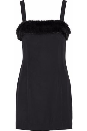 STAUD Elise faux fur-trimmed crepe de chine mini dress